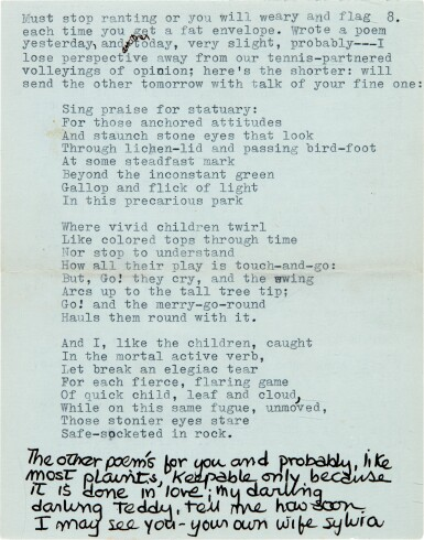 """View 5. Thumbnail of Lot 9. Sylvia Plath 