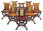 A SET OF EIGHT IRISH GEORGE III MAHOGANY HALL CHAIRS, LATE 18TH CENTURY/EARLY 19TH CENTURY