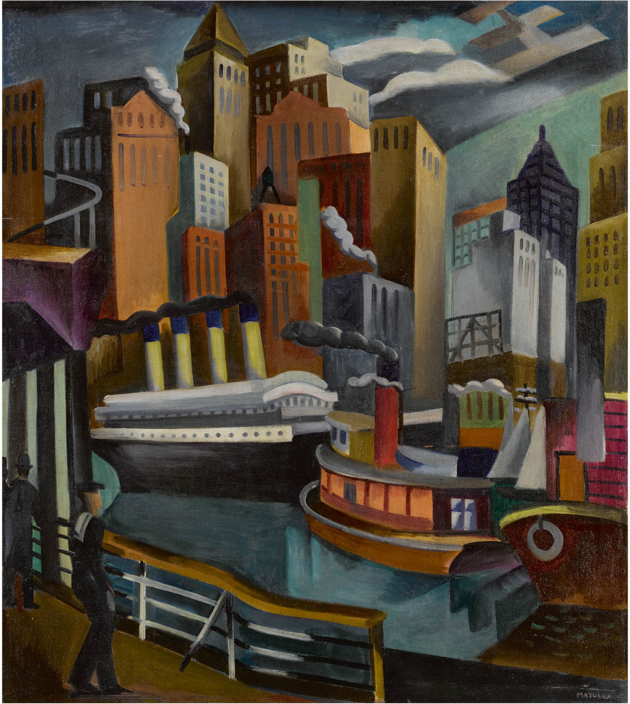 View 1 of Lot 41. New York Harbor & Paris: A Double Sided Work.