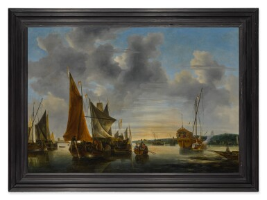 View 2. Thumbnail of Lot 528. DUTCH SCHOOL, 17TH OR 18TH CENTURY | SHIPPING SCENE ON CALM WATER.