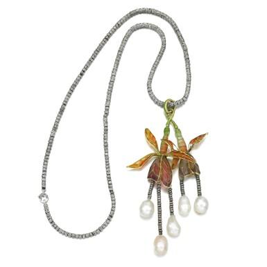 View 2. Thumbnail of Lot 3. Natural pearl, diamond and enamel pendant necklace, circa 1900.