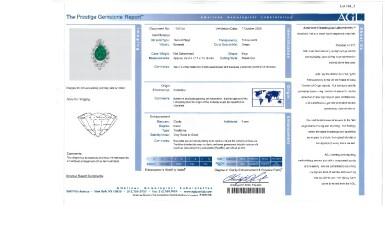 View 5. Thumbnail of Lot 164. Emerald and Diamond Pendant-Necklace [祖母綠配鑽石吊墜項鏈].