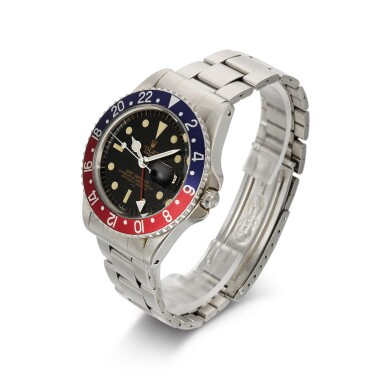 View 2. Thumbnail of Lot 338. ROLEX | GMT-MASTER POINTED CROWN GUARDS, UNDERLINE, DOUBLE SWISS, REF 1675, STAINLESS STEEL DUAL-TIME WRISTWATCH WITH DATE AND BRACELET, CIRCA 1963.