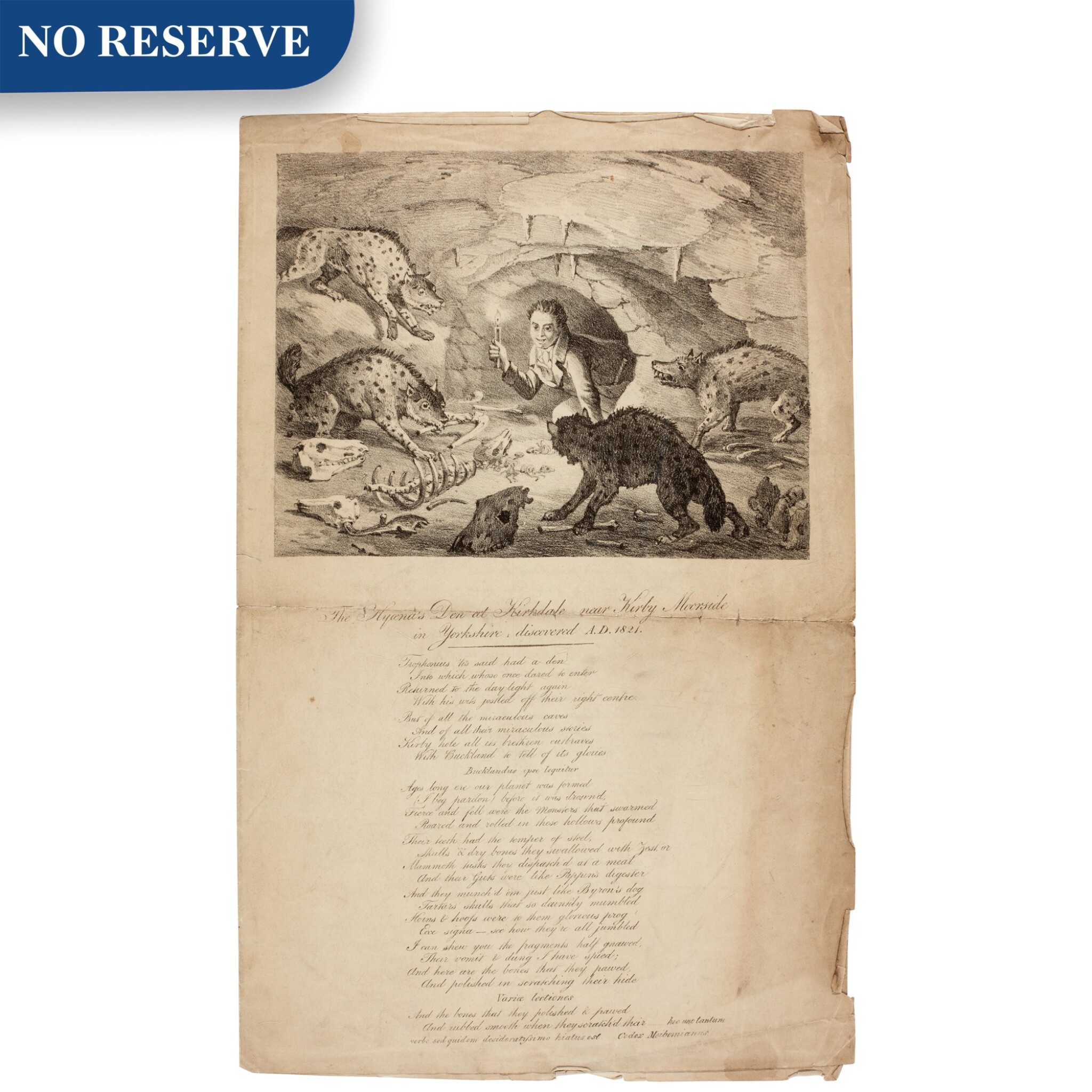 View full screen - View 1 of Lot 10. [William Conybeare] | The Hyaena's den at Kirkdale, lithograph and poem, [1820s].