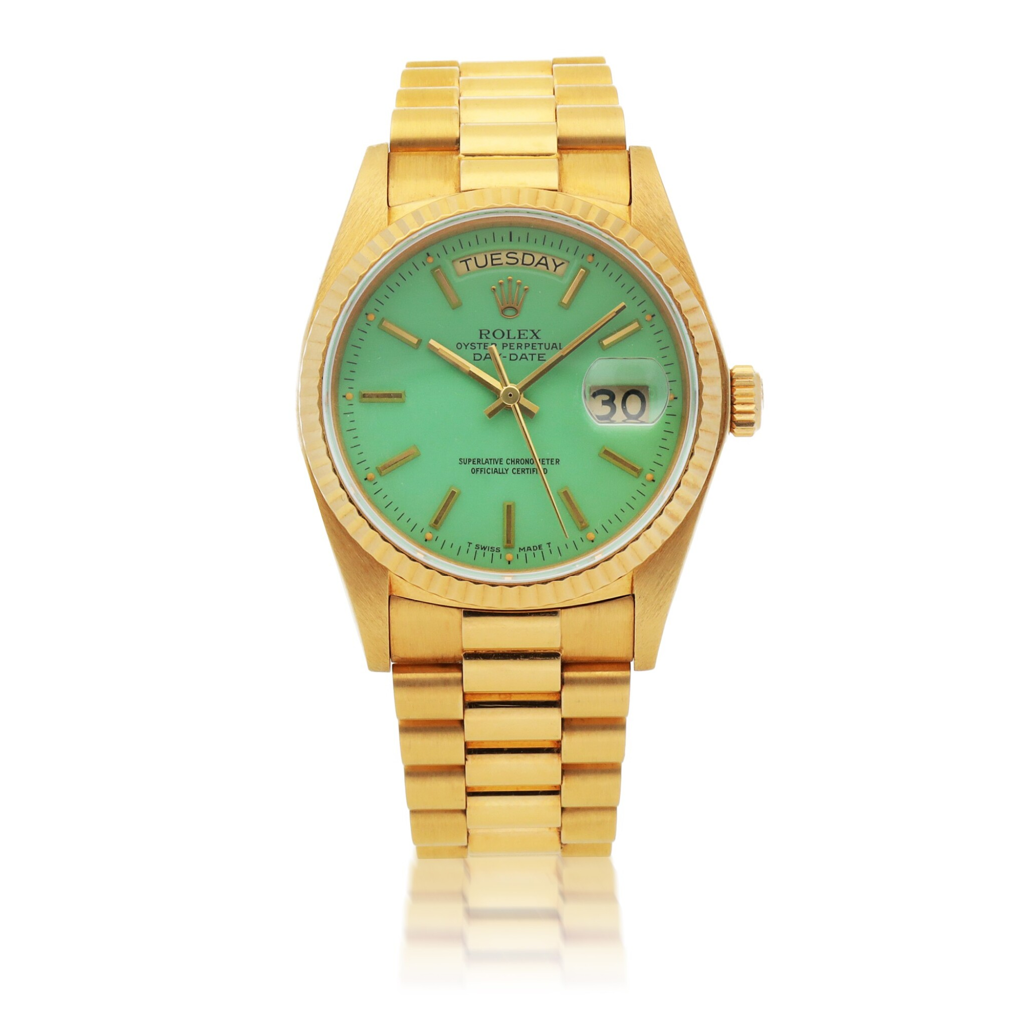 View full screen - View 1 of Lot 437. 'STELLA' DAY-DATE, REF 18038 YELLOW GOLD WRISTWATCH WITH DAY, DATE, BRACELET AND GREEN STELLA DIAL CIRCA 1979.