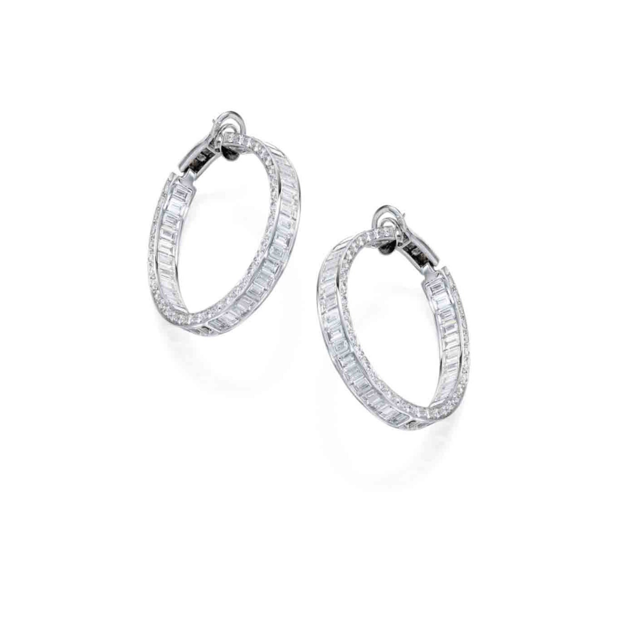 View full screen - View 1 of Lot 244. Pair of Diamond Earclips.