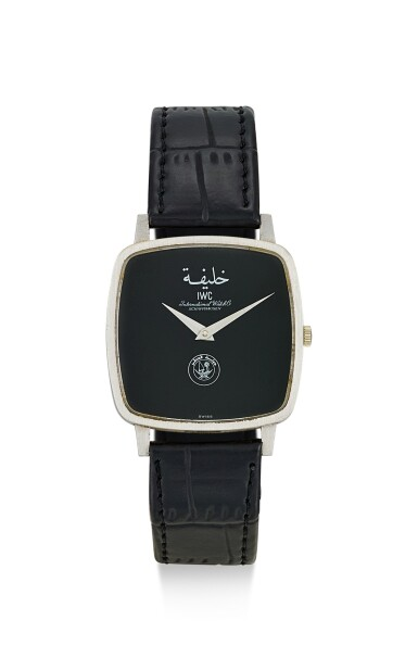 IWC | A WHITE GOLD WRISTWATCH WITH ONYX DIAL, MADE FOR THE STATE OF QATAR, CIRCA 1980