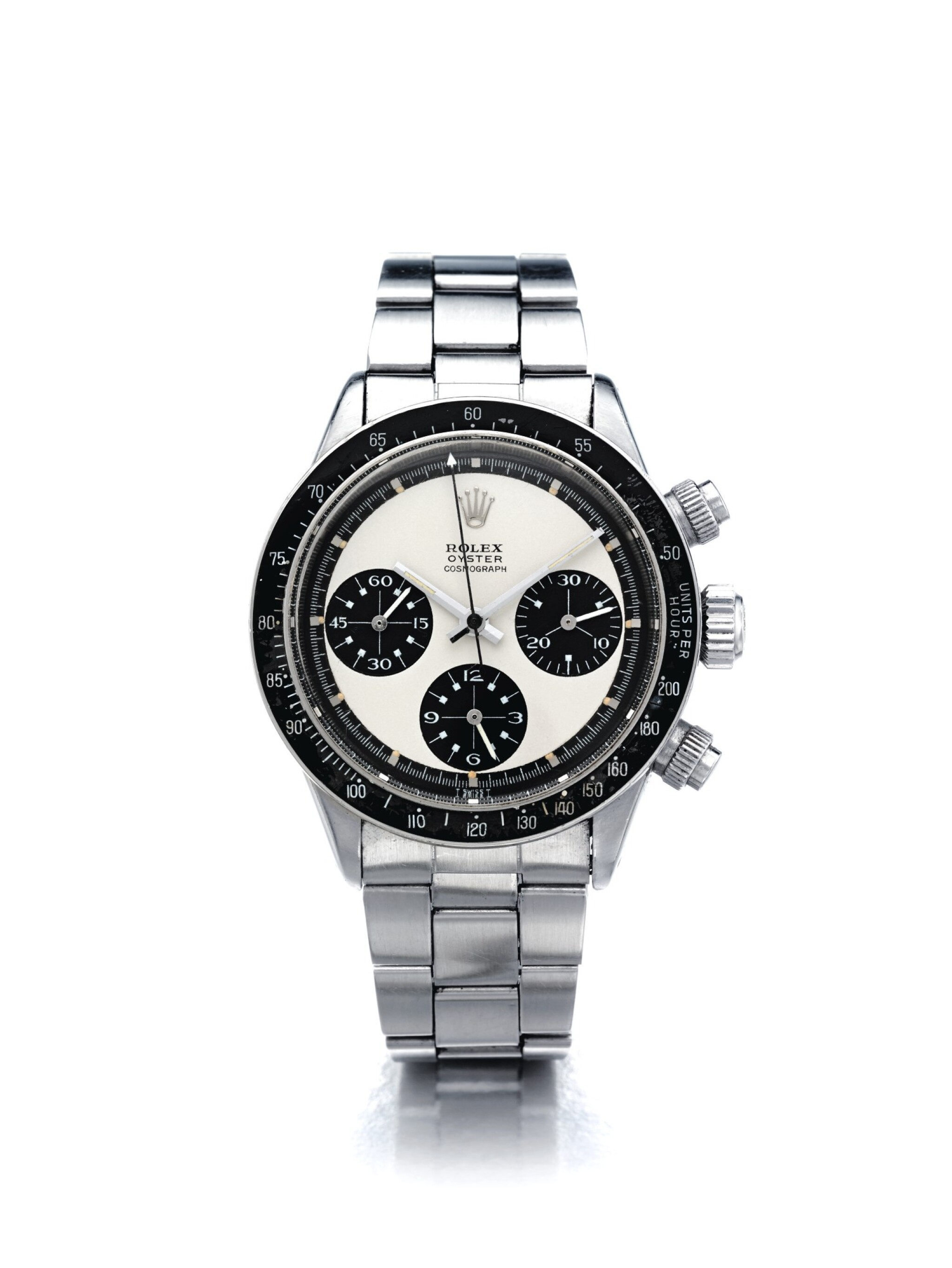 """View full screen - View 1 of Lot 1. ROLEX   REFERENCE 6263 DAYTONA """"PANDA MK 1.75 PAUL NEWMAN""""  A STAINLESS STEEL CHRONOGRAPH WRISTWATCH WITH BRACELET, CIRCA 1970."""