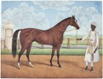 A STALLION WITH ITS GROOM, STUDIO OF SHAIKH MUHAMMAD AMIR OF KARRAYA, INDIA, CALCUTTA, CIRCA 1840
