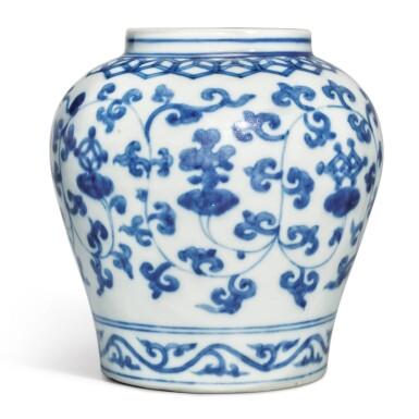 View 1. Thumbnail of Lot 516.  AN UNUSUAL BLUE AND WHITE 'LINGZHI AND BABAO' JAR,  JIAJING MARK AND PERIOD .