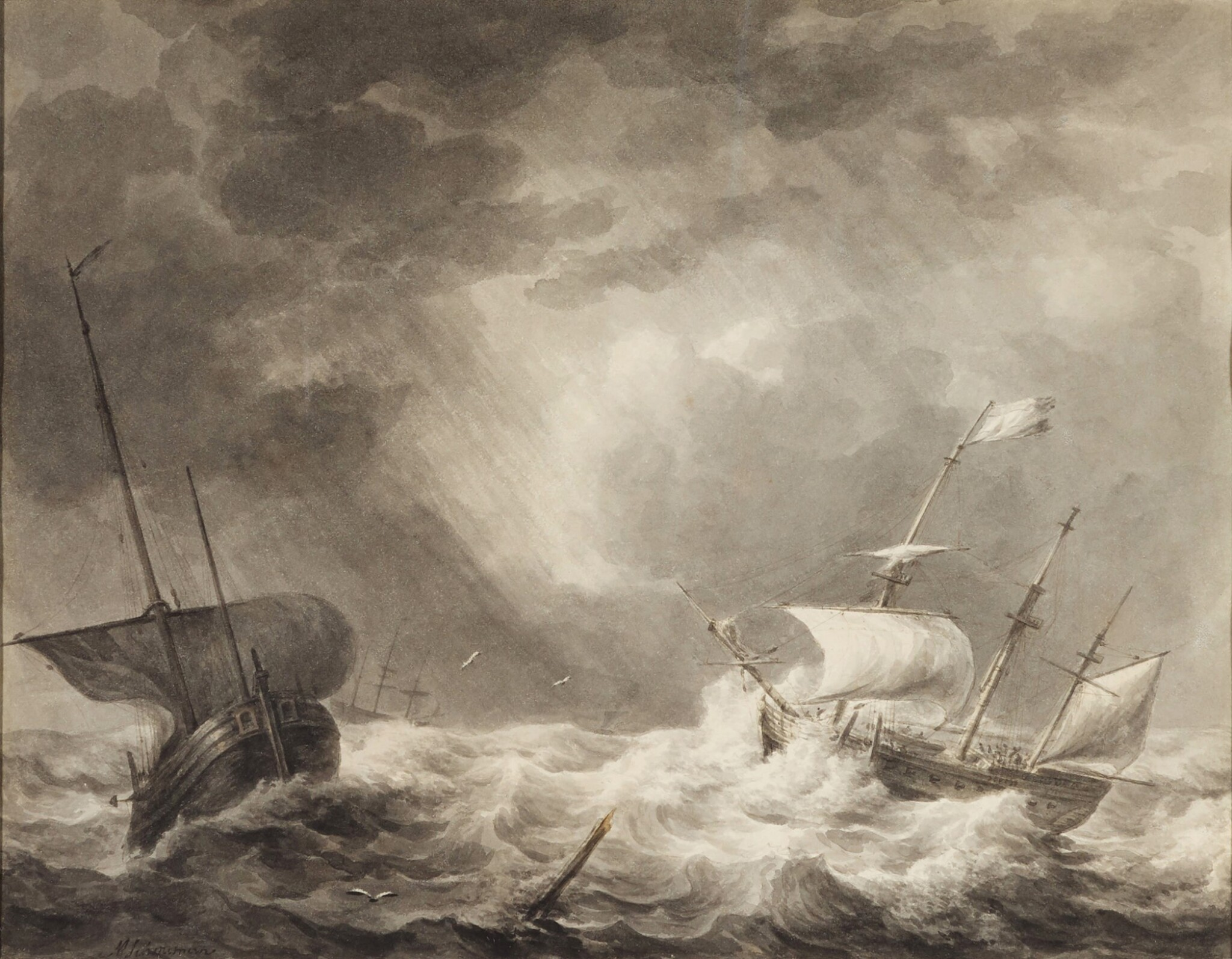 View full screen - View 1 of Lot 34. Storm at sea.