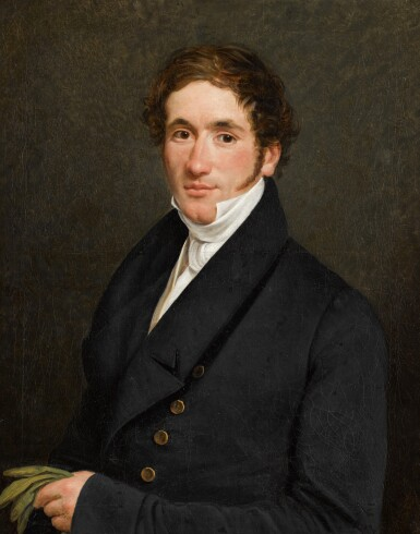 JEAN HENRI DE COENE | Portrait of a gentleman, half-length, holding his gloves