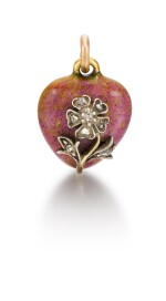 A Fabergé jewelled gold and hardstone heart-shaped pendant, workmaster Alexander Tillander, St Petersburg, late 19th / early 20th century