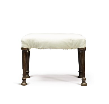 View 2. Thumbnail of Lot 249. A George III serpentine mahogany stool by Thomas Chippendale, 1772.