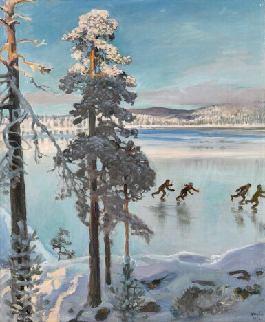 View 1. Thumbnail of Lot 2. Skaters on Lake Ruovesi.