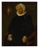 NORTHERN NETHERLANDISH SCHOOL, 1596 | PORTRAIT OF A LADY, PROBABLY FROM THE VAN HEKEREN FAMILY, SEATED THREE-QUARTER LENGTH, AGED 62