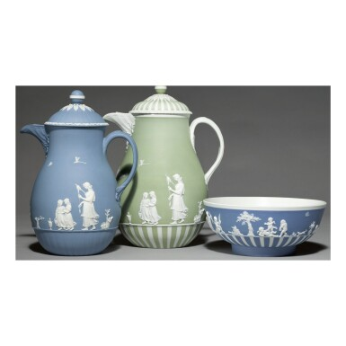 A WEDGWOOD BLUE AND WHITE JASPERWARE COFFEE POT AND COVER AND A JASPER-DIP BOWL LATE 18TH CENTURY