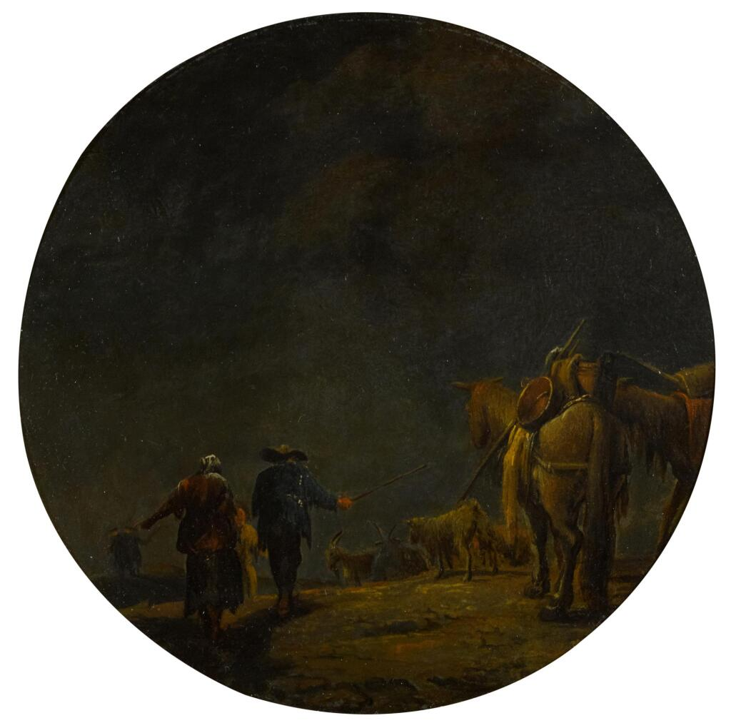 LEONARD BRAMER | A moonlit landscape with drovers and their pack of mules