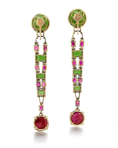 View 3. Thumbnail of Lot 206. ATTRIBUTED TO OLGA TRITT   PAIR OF JADEITE AND RUBY EARRINGS.