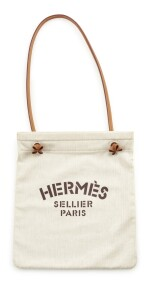 Leather and canvas with palladium hardware shoulder bag, Herringbone linen Aline, Hermès