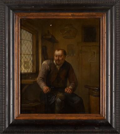 View 2. Thumbnail of Lot 72. EGBERT VAN HEEMSKERCK THE ELDER | A cobbler at his workbench.