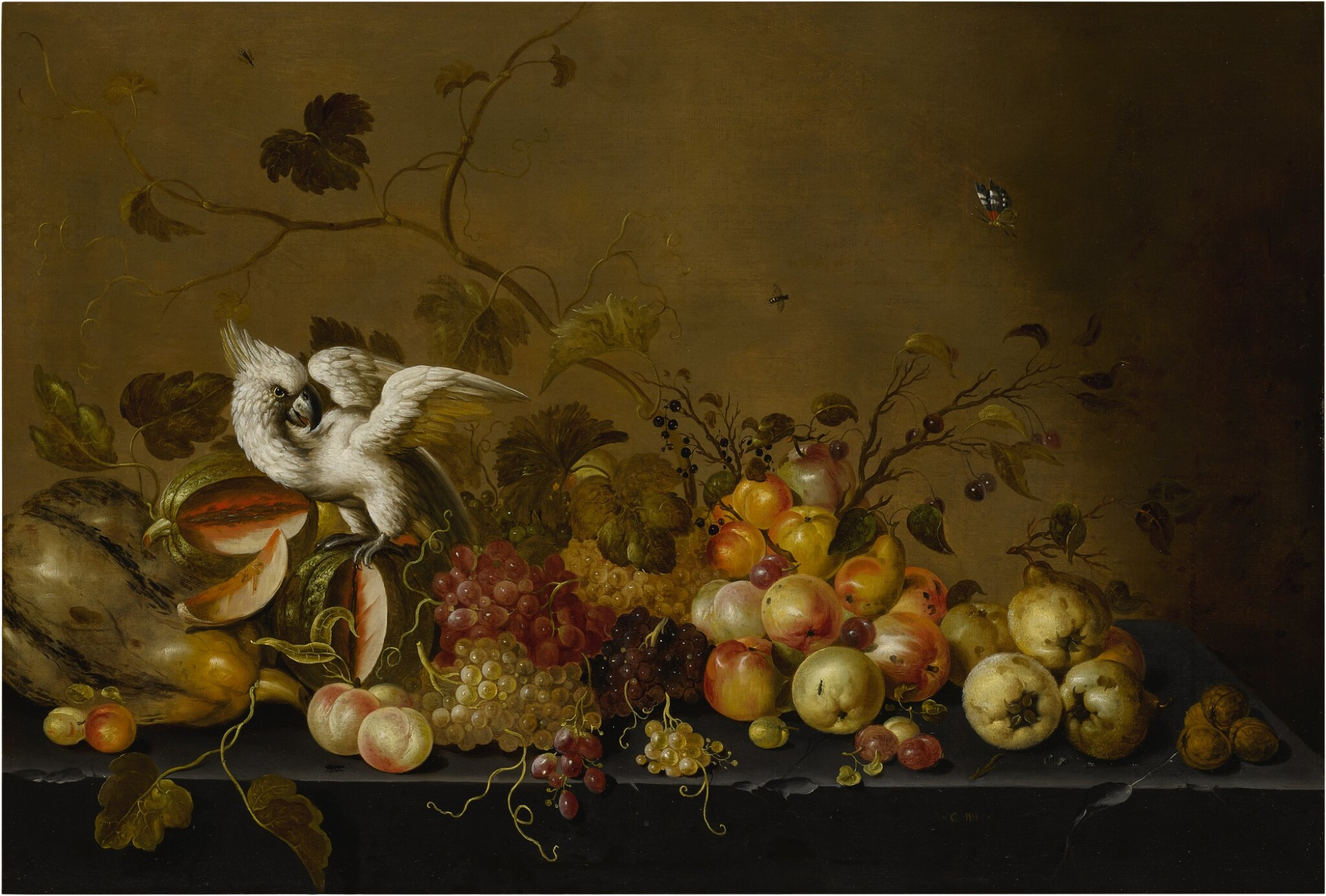 View full screen - View 1 of Lot 620. Still life with fruits on a ledge and a white cockatoo.