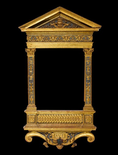 View 1. Thumbnail of Lot 170. A North Italian Renaissance style painted and parcel gilt gesso and wood tabernacle frame, probably Tuscany, incorporating old elements.