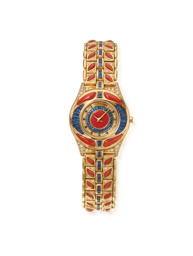 View 1. Thumbnail of Lot 50. GOLD, CORAL, SAPPHIRE AND DIAMOND WRISTWATCH, MAUBOUSSIN.