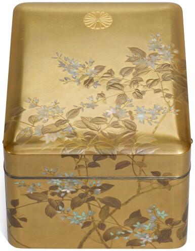 A GOLD LACQUER IMPERIAL PRESENTATION TEBAKO [ACCESSORY BOX], ATTRIBUTED TO AKATSUKA JITOKU (1871–1936), MEIJI-TAISHO PERIOD, EARLY 20TH CENTURY
