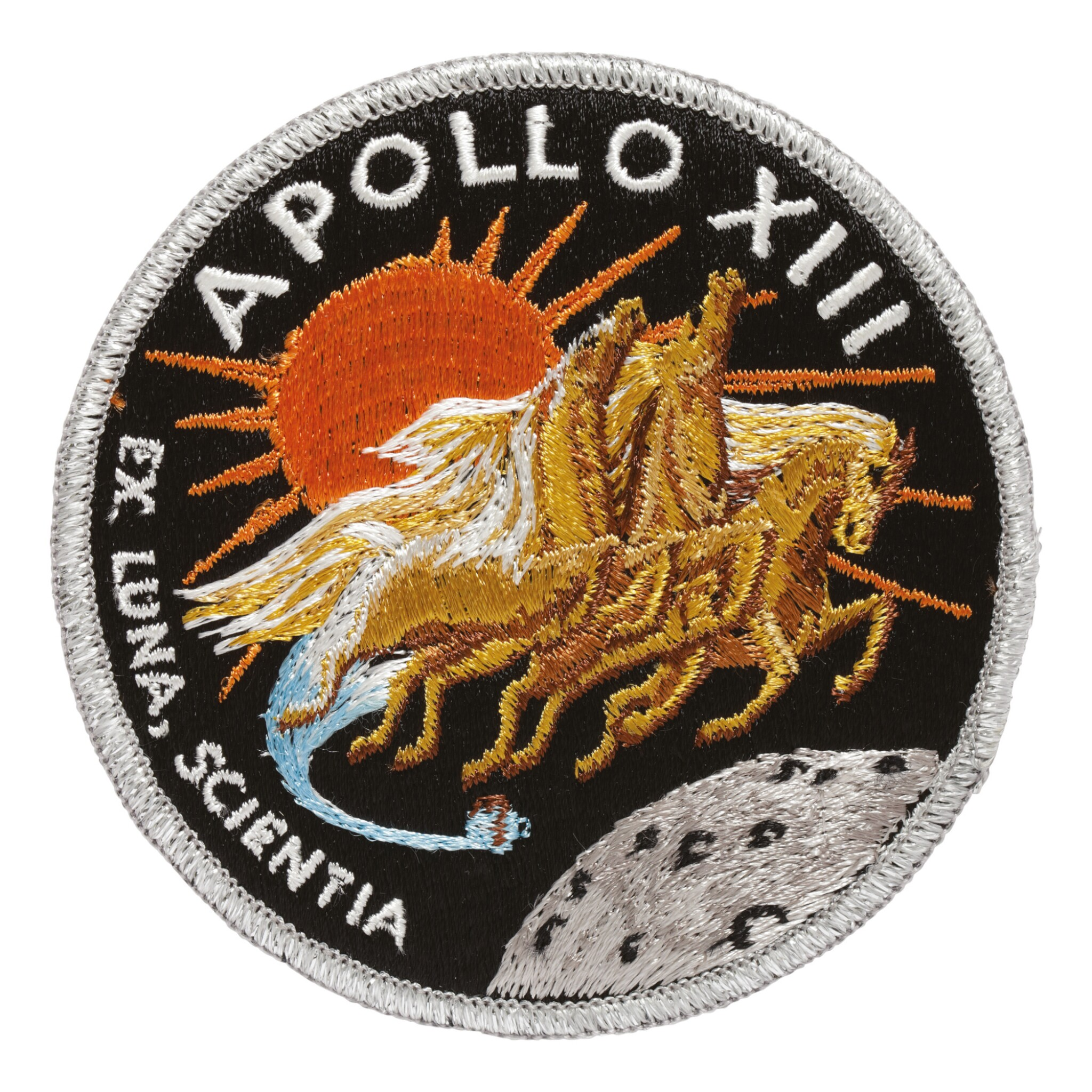 View full screen - View 1 of Lot 162. [APOLLO 13]. FLOWN ON APOLLO 13. AB EMBLEM MISSION PATCH, FROM THE COLLECTION OF JAMES LOVELL.