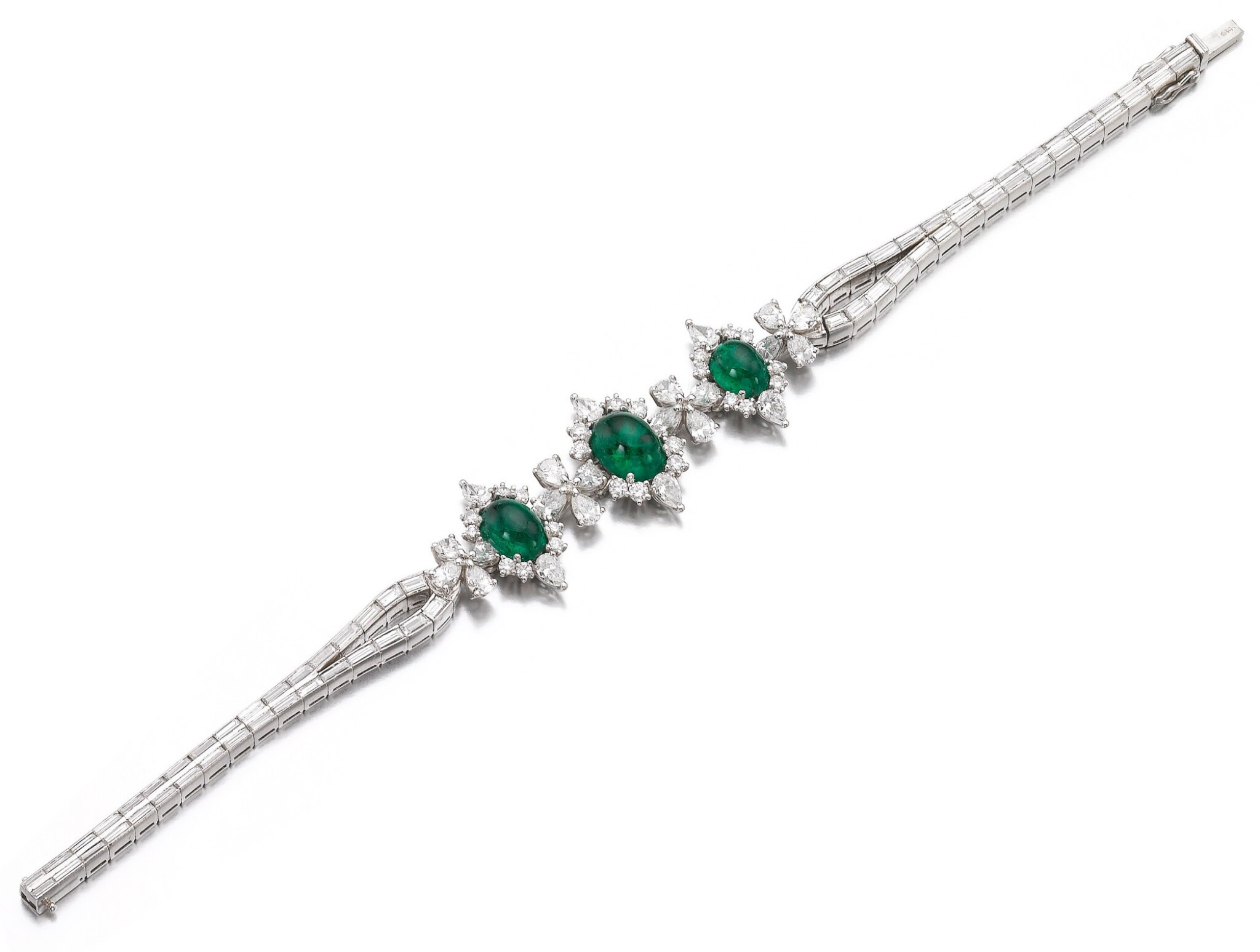 View full screen - View 1 of Lot 1171. Emerald and diamond bracelet.