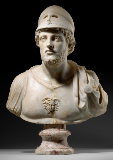 View 1. Thumbnail of Lot 30. A ROMAN MARBLE CUIRASSED BUST OF MARS, CIRCA LATE 4TH CENTURY A.D..