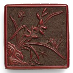 A SMALL CARVED CINNABAR LACQUER BOX AND COVER QING DYNASTY, 18TH/19TH CENTURY | 清十八/十九世紀 剔紅花蝶紋四方蓋盒