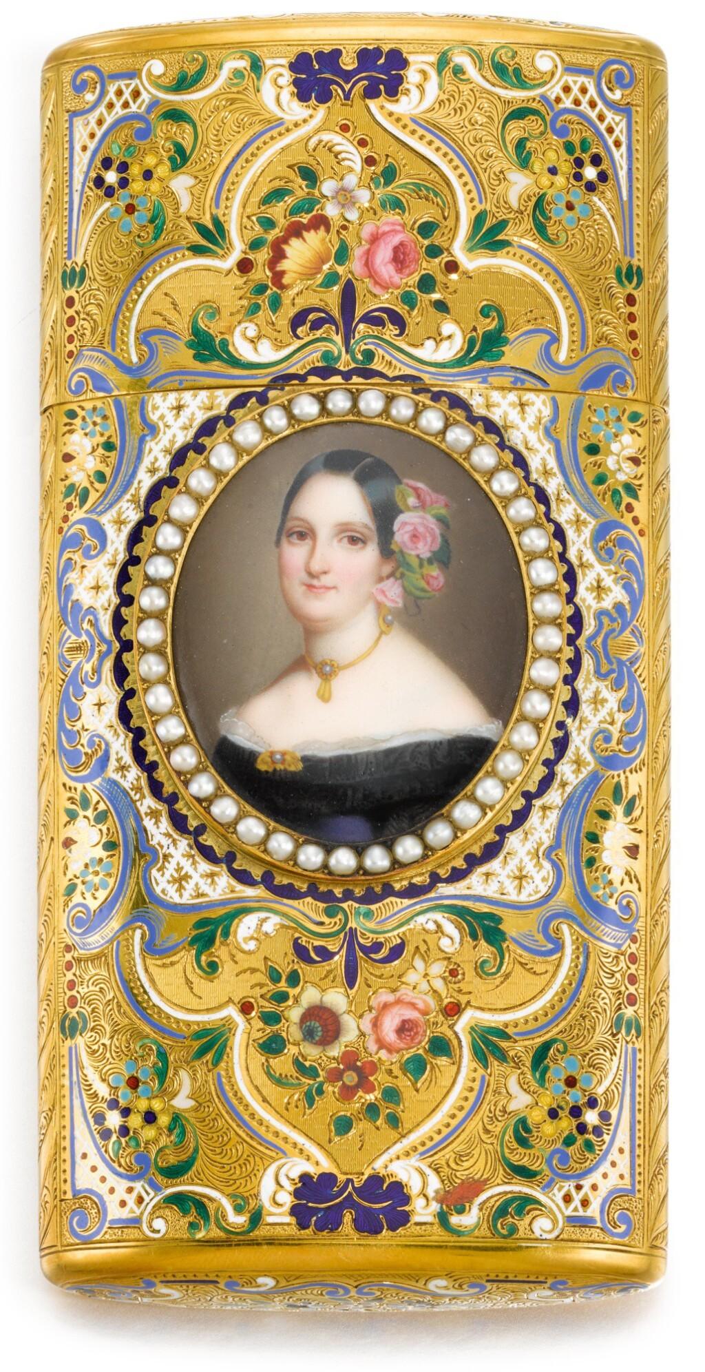 A GOLD AND ENAMEL CIGAR CASE WITH PEARL-FRAMED ENAMEL MINIATURE, GENEVA, CIRCA 1850