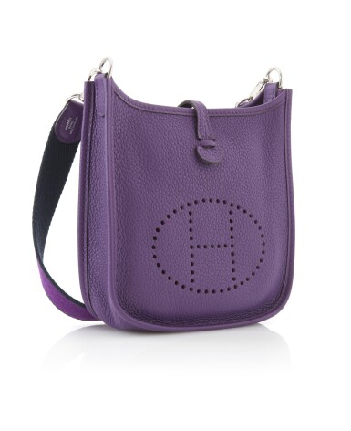 Aubergine leather and palladium hardware, Evelyne PM 16, Hermès, 2013