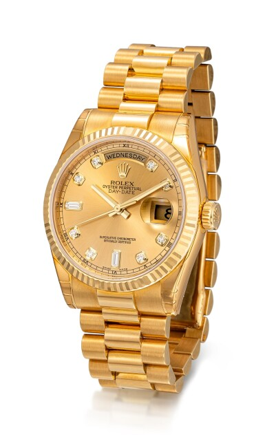 View 2. Thumbnail of Lot 8068.  ROLEX | DAY-DATE, REFERENCE 118238 | A YELLOW GOLD AND DIAMOND-SET WRISTWATCH WITH DAY, DATE AND BRACELET, CIRCA 2005 | 勞力士 | Day-Date 型號118238 黃金鑲鑽石鏈帶腕錶,備日期及星期顯示,約2005年製.