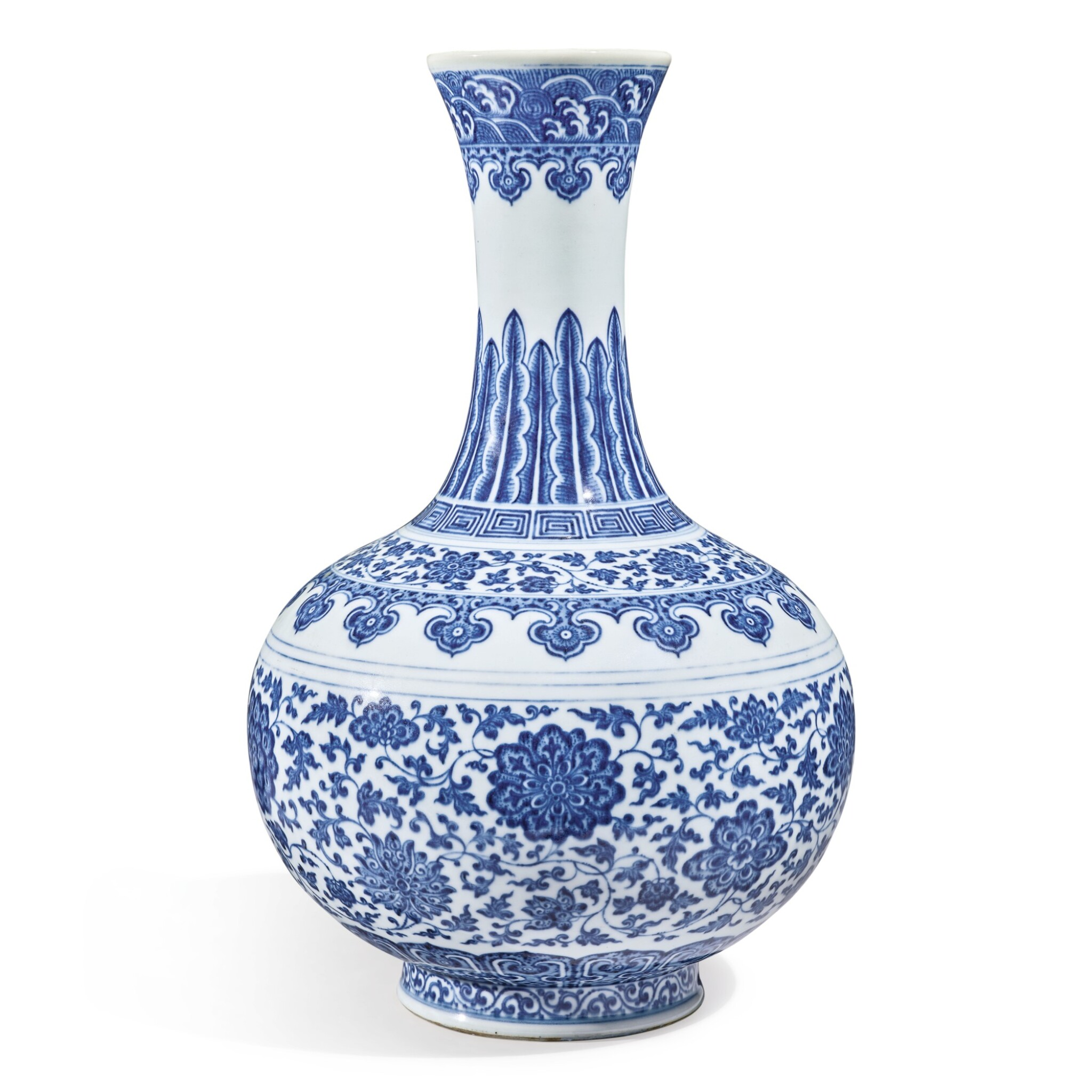 View full screen - View 1 of Lot 147. A Ming-style blue and white bottle vase, Qianlong seal mark and period   清乾隆 青花纏枝蓮紋賞瓶  《大清乾隆年製》款.