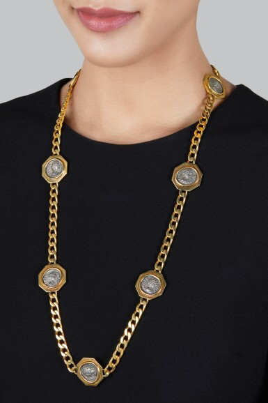 View 2. Thumbnail of Lot 242. Gold and Antique Coin 'Monete' Necklace.