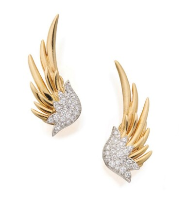 SCHLUMBERGER FOR TIFFANY & CO.   PAIR OF GOLD AND DIAMOND 'FLAME' EARCLIPS