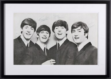 View 2. Thumbnail of Lot 2. THE BEATLES | photograph signed by all four Beatles, 1964.