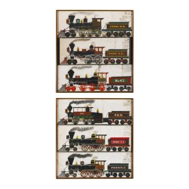 RARE PENNSYLVANIA RAILROAD LOCOMOTIVES AND TENDERS PAINTINGS, C H. CARUTHERS (B. 1847), YEADON, PENNSYLVANIA, CIRCA 1860
