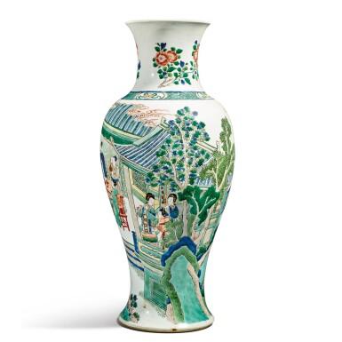View 2. Thumbnail of Lot 141. A famille-verte baluster vase, Qing dynasty, Kangxi period | 清康熙 五彩人物故事圖瓶.
