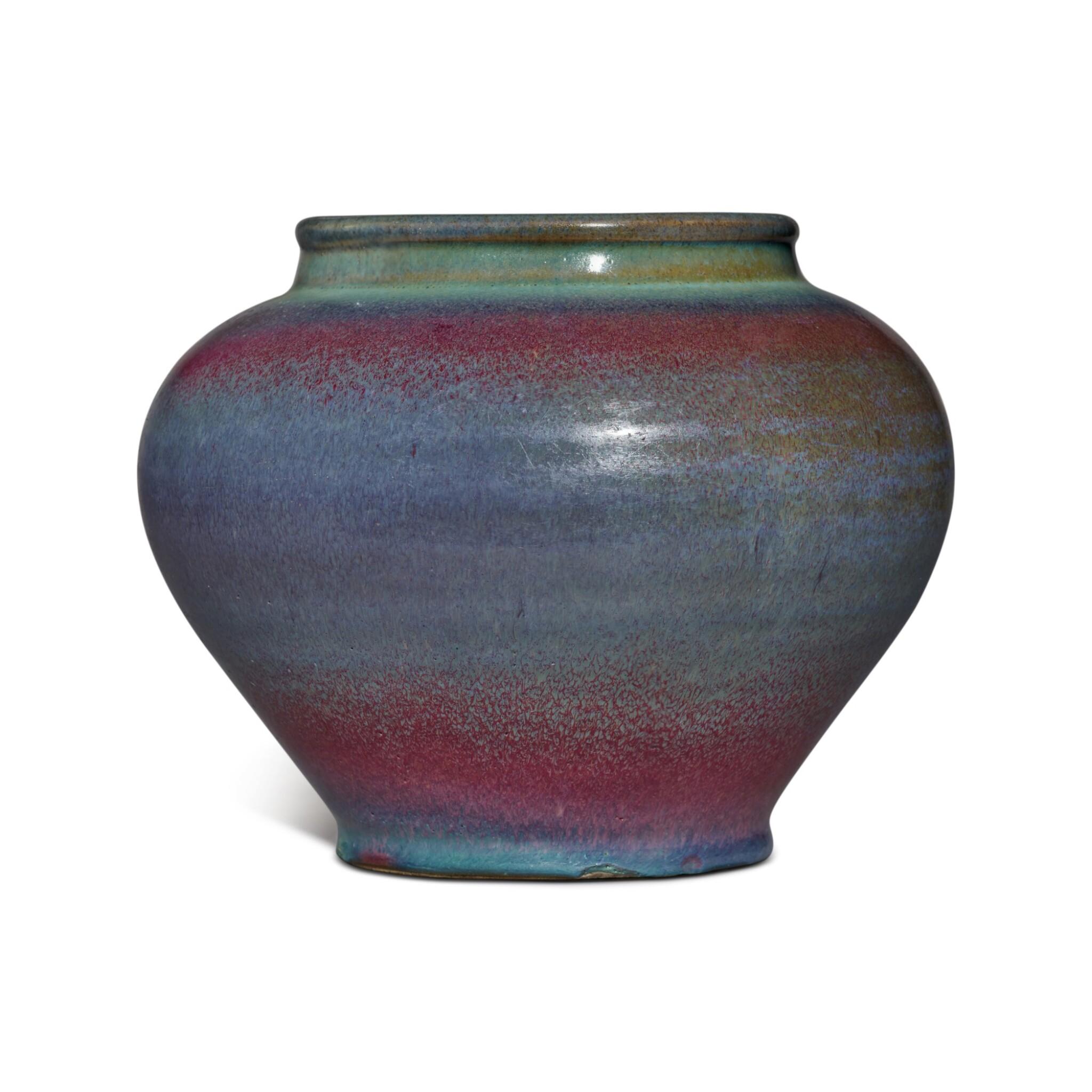 View full screen - View 1 of Lot 197. A 'Jun' purple-splashed jar, Yuan / Ming dynasty | 元 / 明 鈞窰天藍釉紫斑罐.