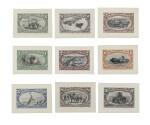 Trans-Mississippi 1898 1c-$2.00 Bicolor Large Die Essays on India (285E8, 286E8, 287E9, 288E5, 289E4, 290E4, 291E8, 292E6, 293E7)