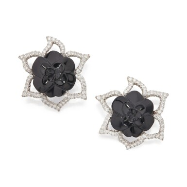 View 1. Thumbnail of Lot 11. PAIR OF ONYX AND DIAMOND EARCLIPS, CHANEL, FRANCE.