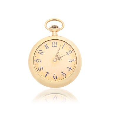 View 1. Thumbnail of Lot 56. RETAILED BY JAQUES & MARCUS, NEW YORK: A PINK GOLD OPEN FACED WATCH, CIRCA 1900.