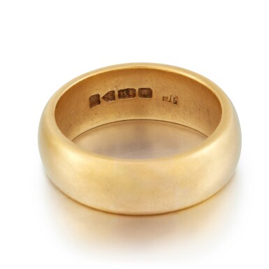View 3. Thumbnail of Lot 2. Sylvia Plath and Ted Hughes | Pair of gold wedding rings.