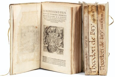 View full screen - View 1 of Lot 198. [Grands voyages]. Frankfurt, Johann Wechel, 1590-1625.12 parties en 4 volumes in-folio. Vélin ancien..