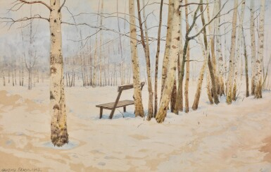 View 1. Thumbnail of Lot 86. ALBERT NIKOLAEVICH BENOIS | WINTER LANDSCAPE WITH BIRCHES.