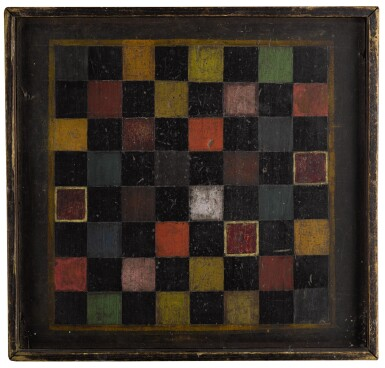 View 1. Thumbnail of Lot 1450. UNUSUAL POLYCHROME-PAINTED PINE CHECKER GAMEBOARD, NEW ENGLAND, THIRD QUARTER 19TH CENTURY.